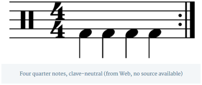 Four quarter notes, clave-neutral (from Web, no source available)